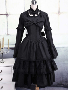 Vestito da Lolita nero classico tradizionale in cotone con maniche lunghe e collo alto multistrato