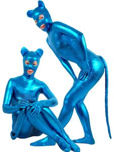 メタリック ブルー 全身タイツ ハロウィン キャットウーマン キャットスーツ シャイニーメタリック 動物コスチューム コスプレ