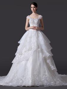 A linha Off-a-ombro arco Organza vestido de casamento nupcial marfim