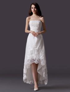Слоновой кости без бретелек высокий низкий дизайн кружева свадебное платье для невесты