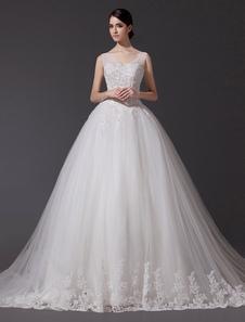 Vestido de noiva Decote V Lace Applique Sequin Beading Ilusão Long Cauda da Catedral Para Casamento