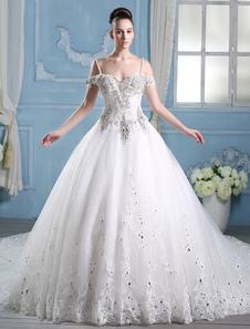 Vestido De Noiva Princesa 2020 Vestido De Baile Vestido De Noiva Strass Frisado Cintas Marfim Cauda Catedral Vestido De Casamento Luxo