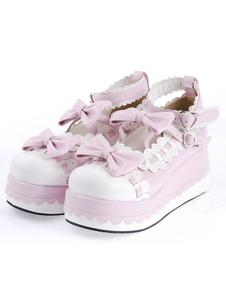 Lolita dolce alta piattaforma Lolita scarpe fiocco Decor cinturini alla caviglia con Trim
