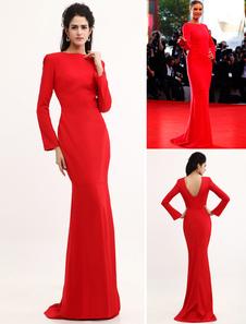Vestidos de celebridades Vestido de noite vermelho Sereia Sem encosto Vestido de cetim Vestido de convidado do casamento