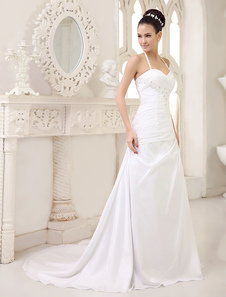 Белые свадебные платья Halter Backless Bridal Dress Rhinestones Beading Side Draped Pleated Wedding Gown With Train