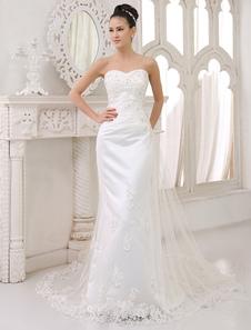 Свадебные платья без бретелек атласная кружева аппликация свадебное платье оболочка возлюбленной декольте отбортовывать свадебное платье с поездом