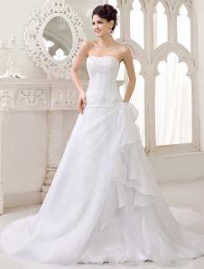 Abiti da sposa in organza con drappeggi laterali in abito da sposa senza spalline