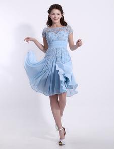 ブライズメイドドレス ナチュラルウェストライン フォーマルドレス シフォン ブルーのブライズメイドドレス ファスナー 半袖 お呼ばれ 二次会 結婚式 Aライン ラウンドネック ベビーブルー ひざ丈 演奏会 ウェディング ウェディングパーティードレス