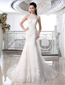 Русалка Свадебные платья Иворы Холтер Свадебное платье Кружева Аппликация Бисерное свадебное платье с поездом