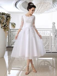 Vestido De Casamento 2020 Branco Curto Rendas Applique Ilusão Meia Manga Comprimento De Vestido De Noiva Bezerro
