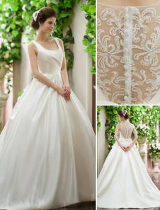 Vestido de noiva marfim a linha silhueta de princesa de laço de pescoço quadrado Milanoo