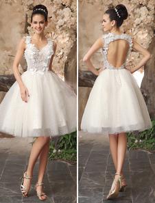 العاج عارية الذراعين الرباط زين تول الترتر فستان الزفاف ميلانو 2020
