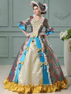 Винтаж принцесса костюм цветочные рококо бальные платья синий женщин рябить Луки жаккард Maxi Королевский старинный костюм платье Хэллоуин