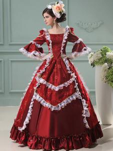 زي خمر الكرة الروكوكو العباءات الأحمر المرأة كشكش نصف حلي الرجعية الأكمام الملكي الأميرة اللباس