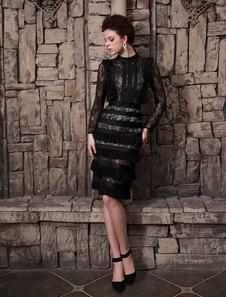 Привлекательные черный кружева Jewel шею длинными рукавами коктейль платье  Milanoo
