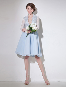 Vestido de cóctel de chifón Azul claro con cuello en V con manga larga con cuentas sexy Vestidos de boda para huéspedes Milanoo