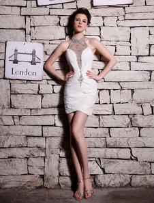 Слоновой кости платье горный хрусталь Холтер великолепный платье без рукавов коктейль  Milanoo