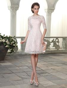 Vestido de cóctel con 1/2 manga y drapeado lateral Vestidos de boda para huéspedes Milanoo