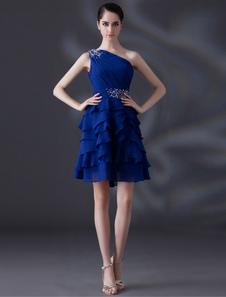 Azul Royal-line Beading um-ombro lindo Cocktail vestido de Chiffon