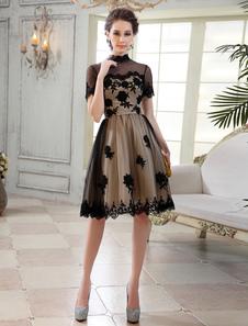 Сексуальная высокий воротник кружевной короткие рукава-Line платье для коктейля Milanoo