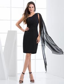 Bainha joelho preta um ombro-comprimento Chiffon vestido de noite Homecoming Vestidos de Convidados para Casamento