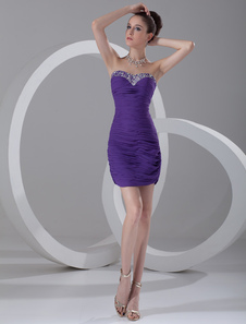Vestido de baile Curto lavanda Beading querida bainha Backless Ruched Mini festa