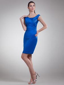 Vestido azul Royal vestido de Cocktail bainha mãe Ruched curto festa vestido de cetim