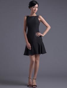 Bainha pescoço de Bateau de Chiffon preto curto vestido de Cocktail  Vestidos de Convidados para Casamento