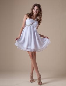 براقة قصيرة بيضاء واحدة الكتف الشيفون المرأة العودة للوطن اللباس