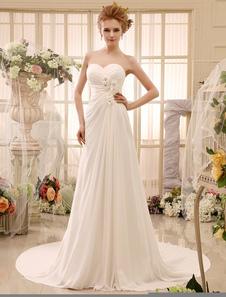Трапеция слоновой кости без бретелек свадебное платье для невесты с прекрасный цветок Milanoo