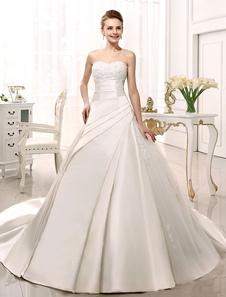 Vestido de casamento nupcial cetim marfim Lace Strapless sem encosto Milanoo