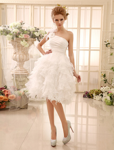 Avorio Wedding Dress-abito One-spalla fiori piume Abito da sposa Milanoo