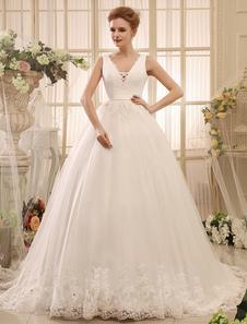 Vestido De Noiva Princesa 2020 Vestido De Baile Vestido De Noiva Sem Costas Marfim Decote Em V Lace Applique Faixa De Fita Vestido De Casamento Capela Cauda