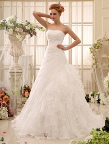 Без бретелек Свадебные платья Organza Ruffles Tiered Bridal Dress Pleated Side Draped Chapel Train Wedding Gown Milanoo