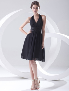 A linha preta Chiffon joelho moda Cocktail vestido