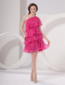 Vestido para homecoming de color rosa caliente de chiffón de línea A hasta la rodilla