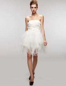Свадебное платье из тюля модное открытая спина короткое A-силуэт
