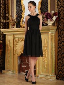 A linha do joelho comprimento Chiffon vestido de Cocktail preto