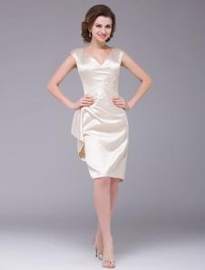 Champanhe joelho comprimento com decote em v cetim mãe do vestido de noiva Vestidos de Convidados para Casamento
