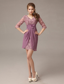 Vestido para la madre de novia de gasa elástica de color lila de línea A con escote en V y encajes