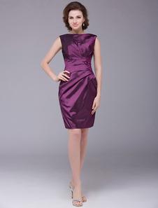 Vestido para la madre de la novia de tafetán púrpura con faja sin mangas Vestidos de boda para huéspedes