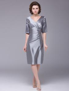 Mãe do vestido da noiva vestido bainha seda cetim para mulheres Vestidos de Convidados para Casamento