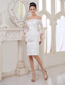 Слоновой кости платье Бато шеи мерцающий короткий прием Платье свадебное Milanoo
