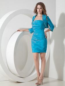 Bodycon коктейль платье 2 частей комплекта Тил тафты аппликация плиссированные мини случаю платье