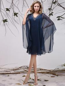 Vestido para la madre de los novios de chifón de azul marino oscuro con escote en V  Vestidos de boda para huéspedes Milanoo