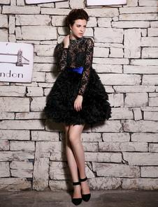 Vestidos de fiesta cortos Vestido negro de cóctel con escote redondo de manga larga Milanoo