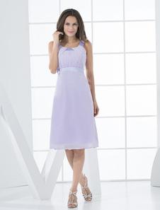 Vestido de cóctel de color lavanda de gasa con escote cuadrado de línea A hasta la rodilla