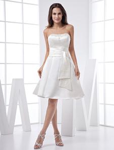 White Strapless Sash Joelho Duração Satin Dress Homecoming Prom