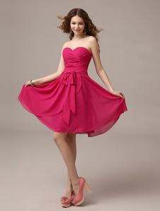 Vestido de damas de honor de chifón Rosa caliente con escote en corazón con faja hasta la rodilla