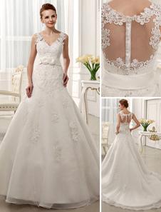 Vestido de noiva marfim decote V linha-A em tule com cauda e apliques Milanoo